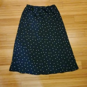 Stretchy Blue Skirt with White Polka Dots Size 10P
